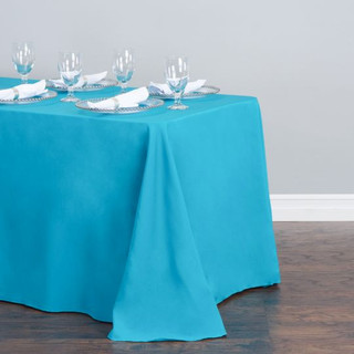 Polyester  Rectangle Tablecloth Turquoise