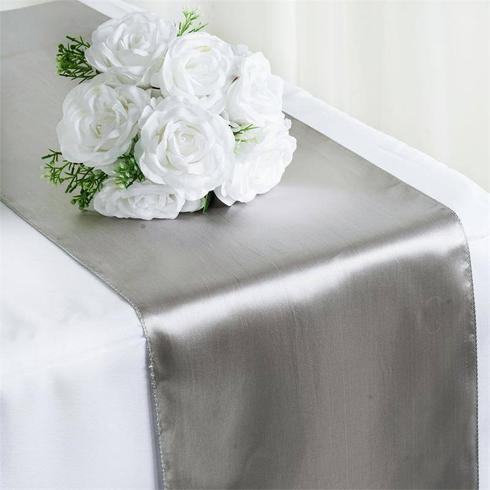 Satin Table Runner  Silver