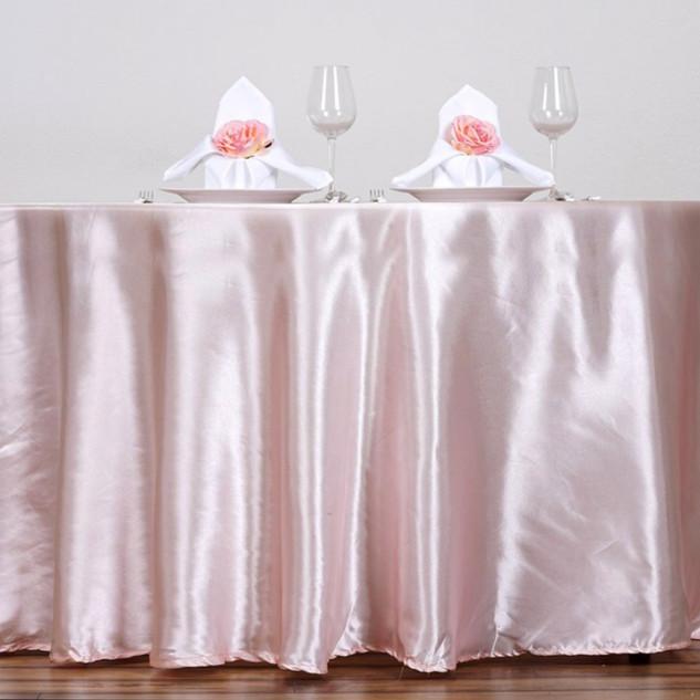 Satin Round Tablecloth Pale Blush
