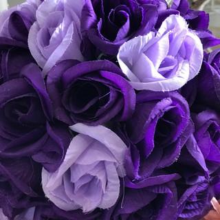 "Flower Kissing Ball Purple & Lavender 7"""