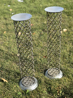 Metal Mesh Pillar Set of 2 Silver