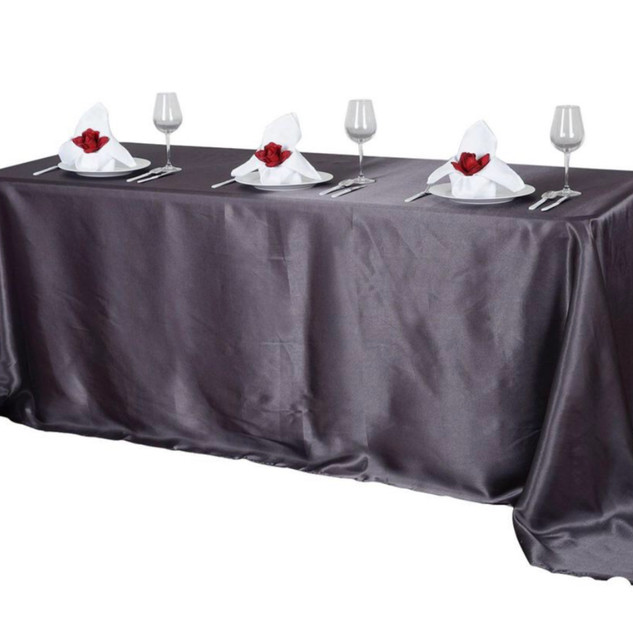 Satin Rectangle Tablecloth Charcoal