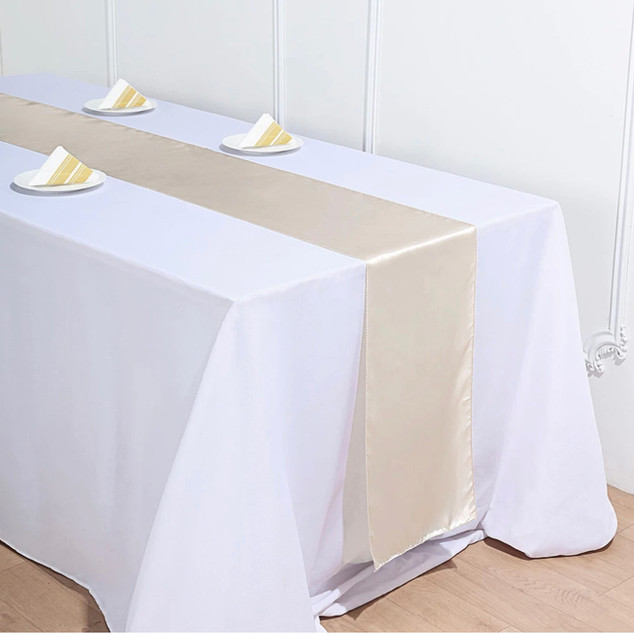Satin Table Runner Beige