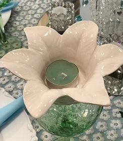 Ceramic Flower Tealight Holder Ivory.JPG