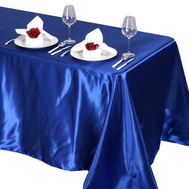 Satin Rectangle Tablecloth Royal Blue
