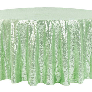 Sequin Round Tablecloth Mint Green