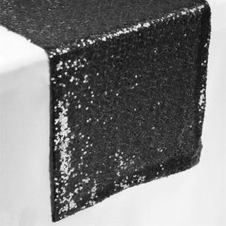 Sequin Table Runner  Black