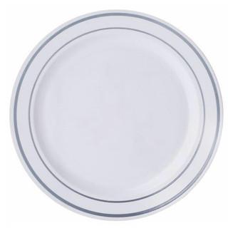 Plastic Dinner Plate White & Silver