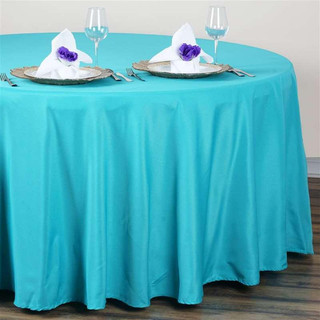 120inch Polyester Round Tablecloth Turquoise