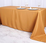 Polyester Rectangle Tablecloth Gold