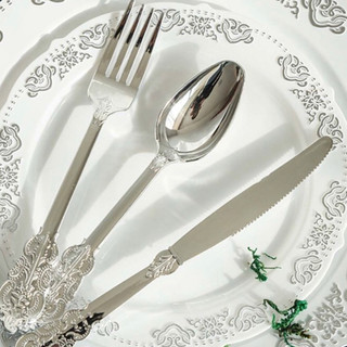 Disposable Baroque Cutlery 72pk Silver