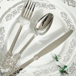 Disposable Baroque Cutlery 72pk Silver