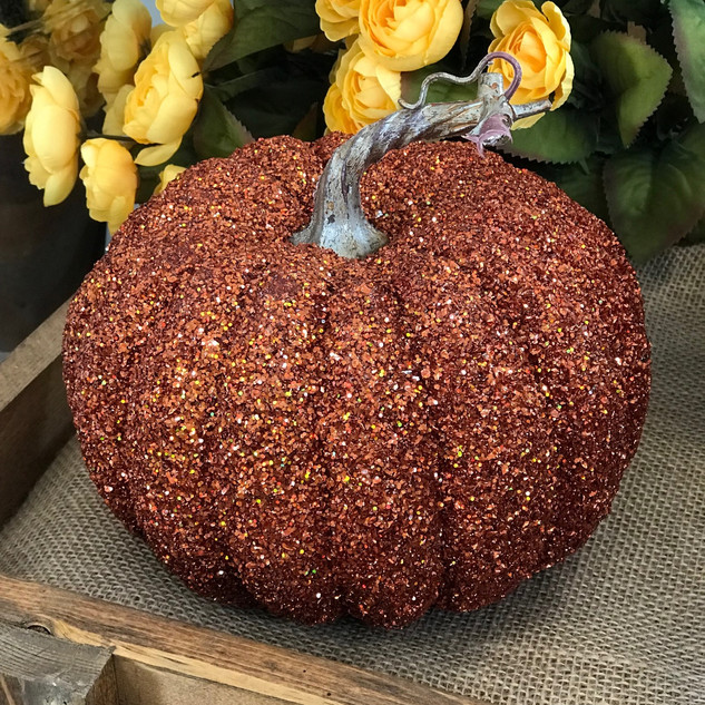 Burnt Orange Sparkle Pumpkin 7""