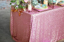 Sequin Rectangle Tablecloth Pink