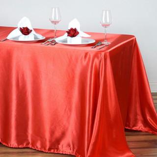 Satin Rectangle Tablecloth Coral