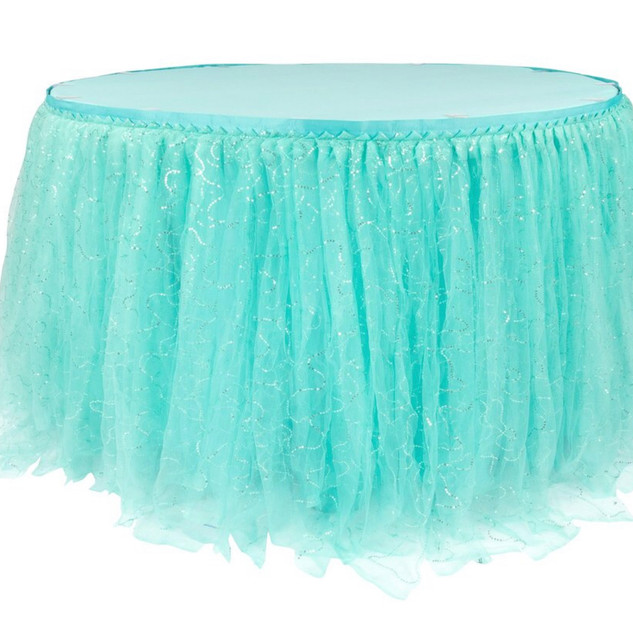 Sequin Tulle Table Skirt Turquoise