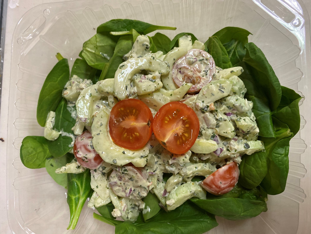 Creamy Cucumber and Spinach Pesto Salad