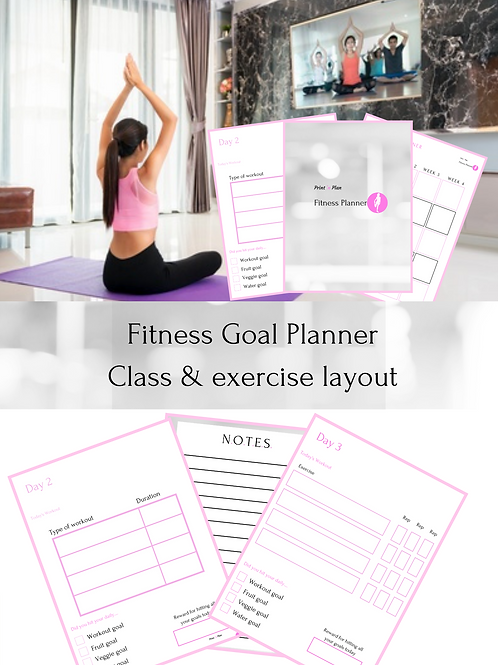 Fitness Goal Planner - Class & Exercise Workout Layout