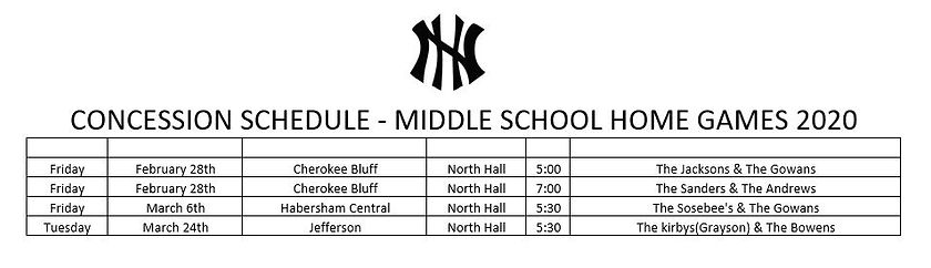 Concessions Middle School Schedule 2020.