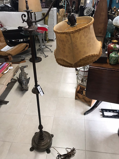 Antique brass lamp with vintage cloth lampshade