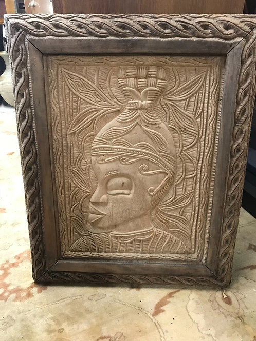 "Teak African silhouette plaque 30""H x 24""T"