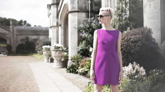 Advertising photographer purple dress ca