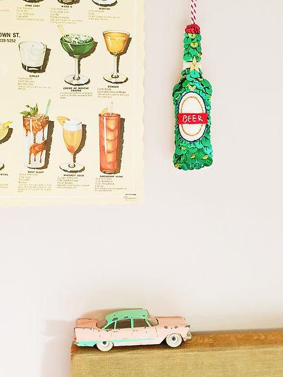 Bottle of Beer Sequin Hanging Ornament