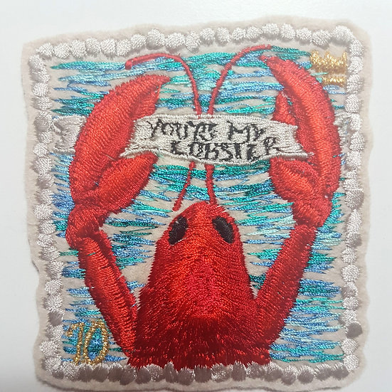 You're My Lobster, embroidered stamp patch close up