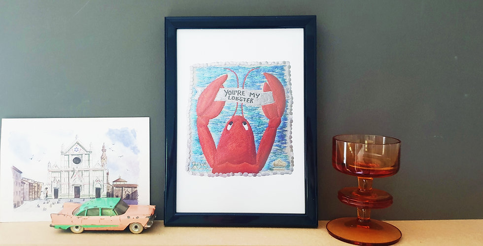 A5 You're My Lobster Stamp Print