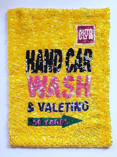 Sequin image of a Hand Car wash Sign