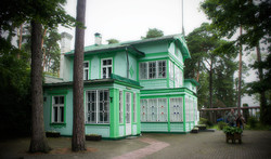 Grönt hus i Jurmala Lettland