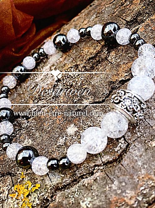 Bracelet Cristal de Roche et Hématites