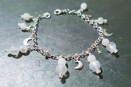 Bracelet féminité sélénite pierre de lune cristal argent 925