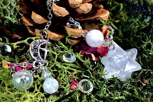 Mini pendule Merkaba cristal et pierre de lune