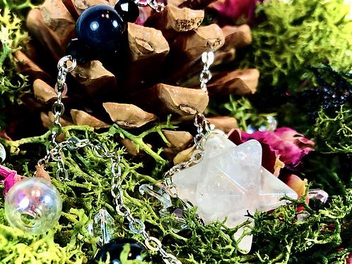 Mini pendule Merkaba cristal et obsidienne céleste