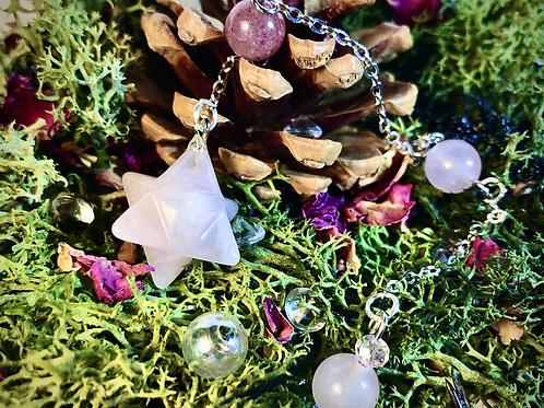 Mini pendule Merkaba quartz rose