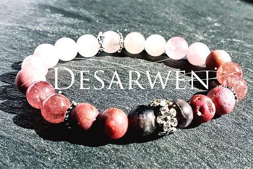 Bracelet Améthystes, quartz roses et fraises, opales roses, argent 925