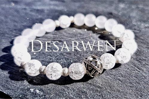 Bracelet jade blanc, cristal de roche et argent 925