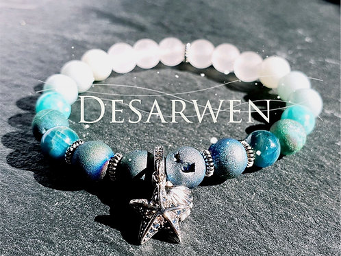 Bracelet Cristal, jade blanc, apatite, amazonites et argent 925