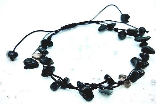 Bracelet tressé obsidiennes