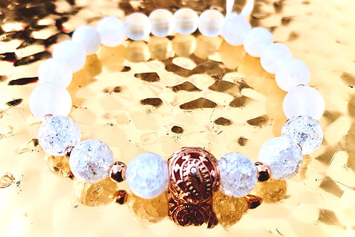 Bracelet cristal calcedoine et argent 925 rose