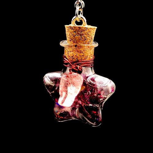 Fiole Talisman grenat quartz fraise