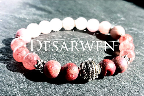 Bracelet quartz rose, fraise, opale rose, cristal galva
