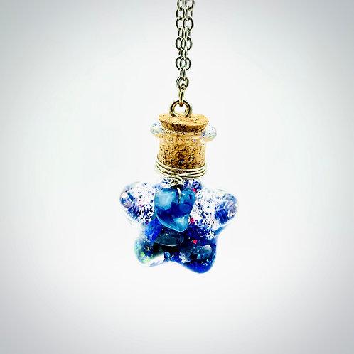 Fiole Talisman lapis lazuli cyanite cristal de roche