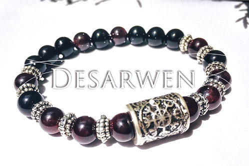 Bracelet grenat et onyx