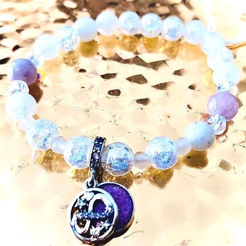Bracelet pierre de lune, cristal, kunzite, quartz rose et argent 925
