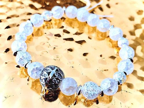 Bracelet cristal de roche et argent 925