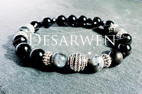Bracelet obsidienne céleste, spectrolite, onyx noir