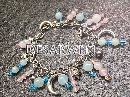 Bracelet breloques Aigue Marine et quartz Rose