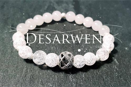 Bracelet cristal de roche, jade blanc et argent 925